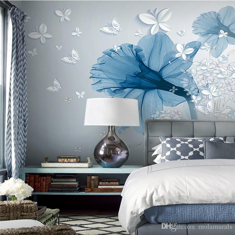 Custom Wallpaper Large 3D Wall Murals Morden Style TV Walls Bedroom Living  Room Study Home Decor Blue Flowers White Butterfly Hd A Wallpapers Hd Free  ...