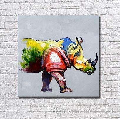 Feld Nashorn, echtes handgemaltes modernes Wand-Dekor-abstrakte Tier-Kunst-Ölgemälde-starkes Segeltuch-multi Größe Freies Verschiffen A064
