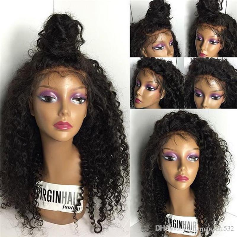 Unprocessed Brazilian Virgin Hair Lace Front wigs & Tight Curly Full Lace Human Hair Wigs Glueless With Baby Hairs For Black Women