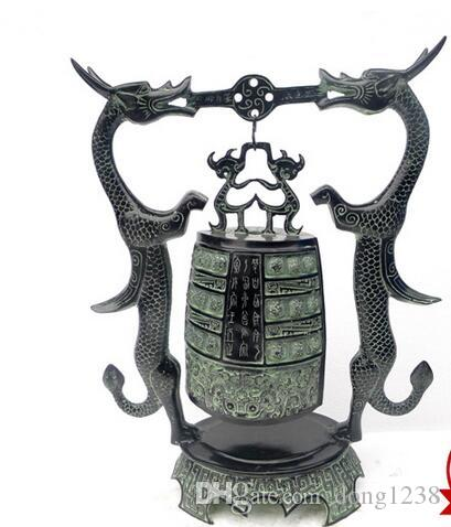Promosyon büyük Ssangyong bronz çan açık yeşil bakır Dekorasyon Şehir evi kötü ruhları ev dekorasyon