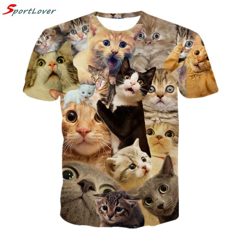 Toptan-Sportlover 2016 Yeni Sürpriz Kediler T-shirt Kabarık Sevimli Koridiler Kedi Yüzler Muhteşem T Gömlek Kadın Erkek 3D Yaz Tee Gömlek