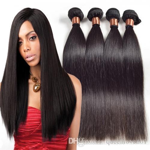 Indiani 3pcs diritto Tessiture capelli umani di Remy di estensioni tingibili / lot nessun spargimento aggroviglia liberamente non trasformati umani vergini tessono capelli