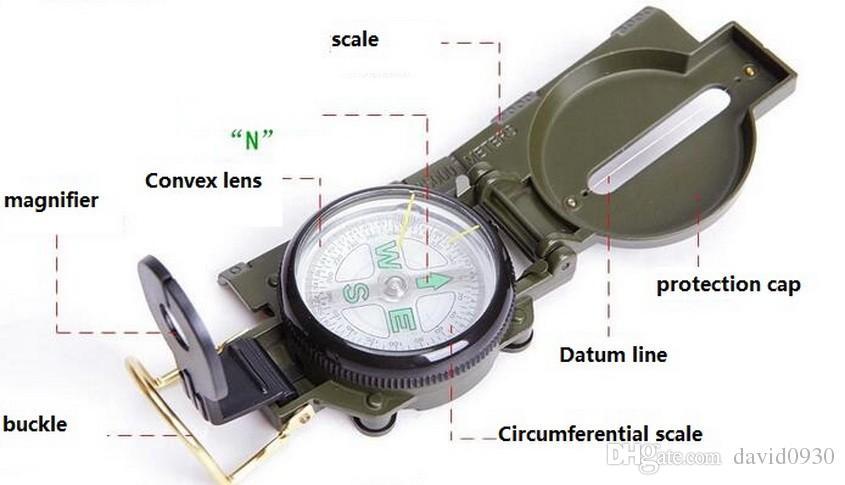 Compas multifonction américain, chasse en plein air, aventure, camping, triple positionnement et fonctions de cartographie.