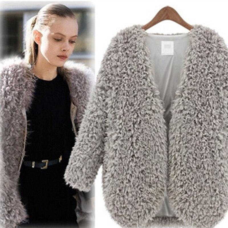 2016 New Fashion Spring Winter Plush Copy Fur Jacket Coat Thicker Warm Long Sleeve Cardigan Jacket Coat Female A179