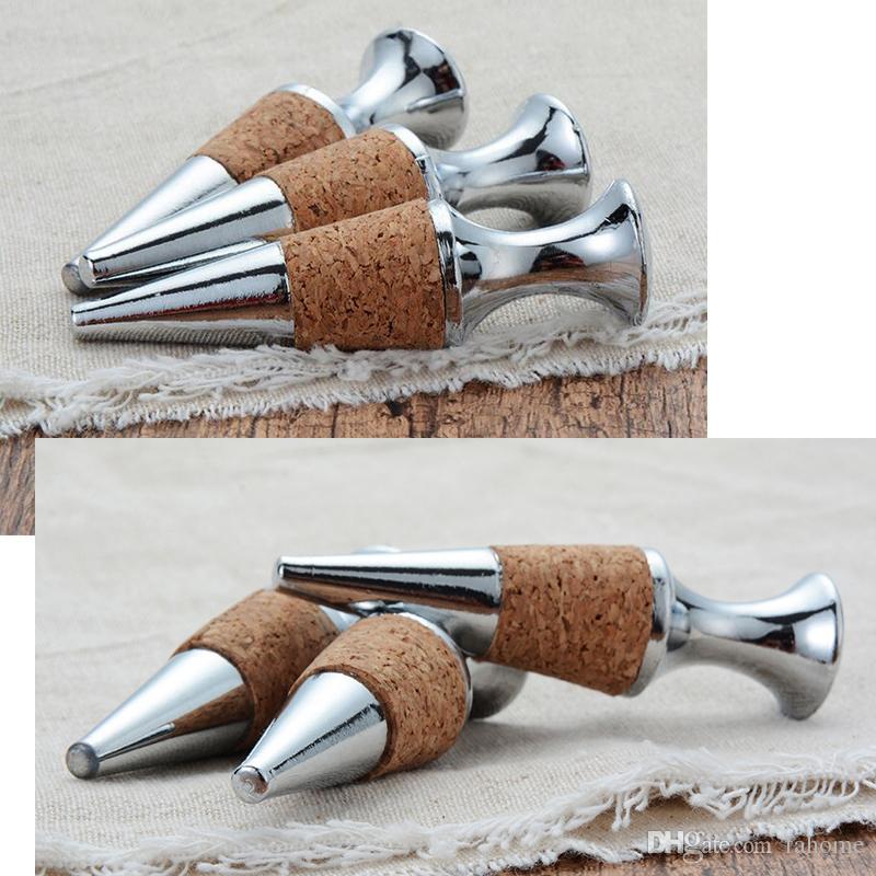 Cono de madera reutilizable del cinc de la aleación del cinc en forma de tapón del vino, sellador del tapón de la botella de vino del refresco de la cerveza para el partido casero de la barra
