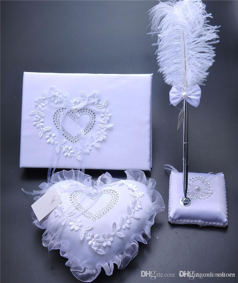 3Pc set tela di iuta di cristallo di pizzo nozze guest guest penna set anello cuscino giarrettiera decorazione amore cuore anello nuziale cuscini forniture di nozze