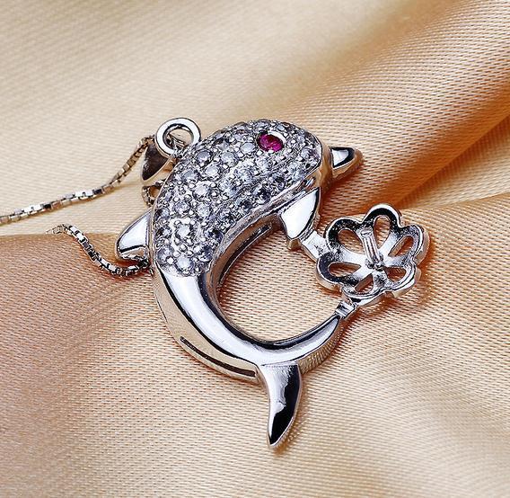 Heißer Verkaufs-Großhandelsdelfin, der natürlichen Perlen-hängenden Halsketten-Zusatz modelliert, verhindert Allergie DZ0097
