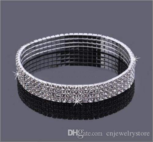 4-Row Four Rows Sparkly Crystal Rhinestone Anklet Stretch Cz Tennis Ankle Chain Sexy Anklet Bridal Wedding Accessories for Women Hot Sale