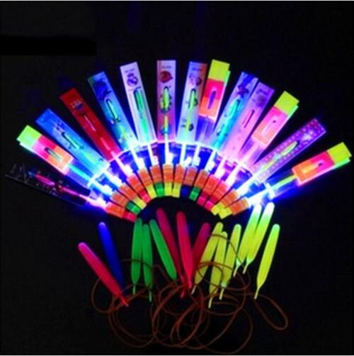 200PCS Free Shipping DHL Helicopter Rotating Flying Toy Amazing LED Light Rocket Party Fun Gift