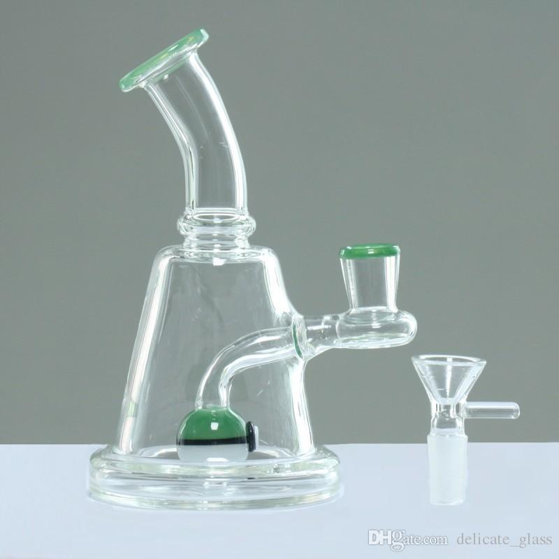 Mini bong di vetro da 17 cm con boccaglio maschio Dimensioni 14.4mm Incl. Perclator Rrcycle Glas Bong Pipa da fumo Disponibile a magazzino