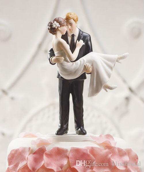 Beach Stylish Wedding Bridal Cake Toppers White Hug Romantic Couple Decoration Best Selling Free Shipping