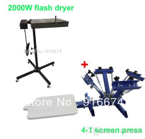 ENVÍO GRATIS RÁPIDO 4 color 1 estación de máquina de serigrafía de la estación + 2000 W flash secador camiseta impresora equipo de la prensa carrusel