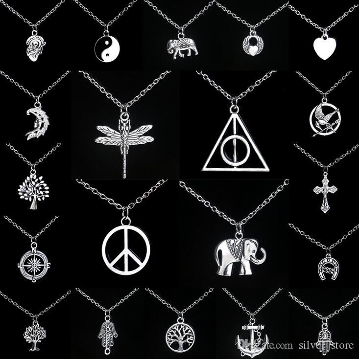 Free shipping Personalized alloy pendant necklace hot explosion models WFN032 (with chain) mix order 20 pieces a lot
