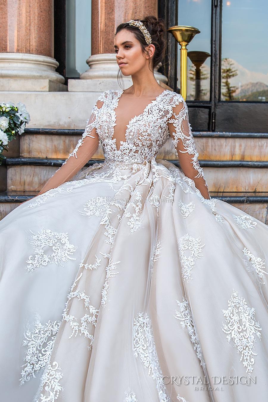 keyhole back monarch train princess wedding dresses 2017 crystal design bridal long sleeves plunging v neck sexy ball gown a line wedding