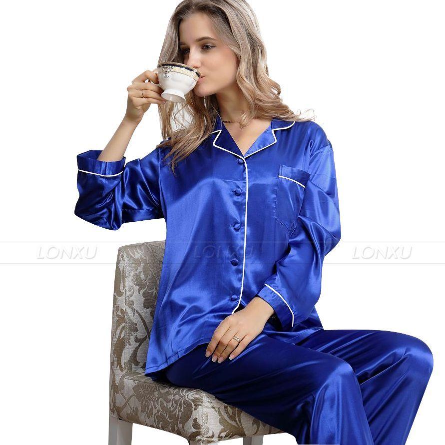 Al por mayor- Pijamas de satén de seda para mujer Set pijama de pijamas Set ropa de dormir Loungewear XS S M L XL 2XL 3XL__Regalos