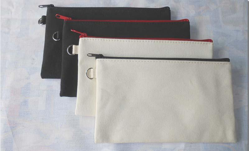100 adet 19.5 * 11 cm Siyah pamuk kanvas kozmetik çantaları DIY kadınlar boş düz fermuar makyaj çantası telefon debriyaj çanta Hediye organizatör kılıfları