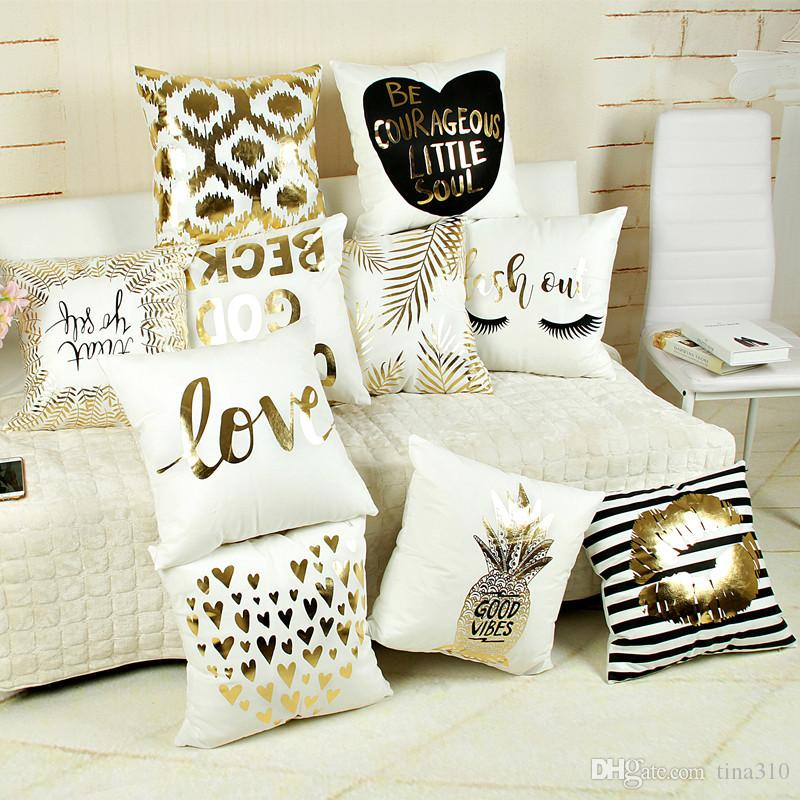 Supersoft Velvet Bronzing Pillow Cover Cushion Cover Home Decor gold stamp Pillow Decorative Throw Pillows LOVE Pillow Case IC590