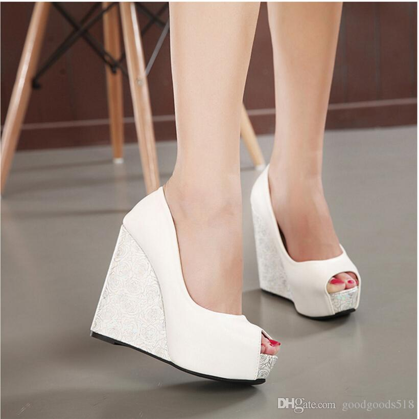 Wedge Heel Bride Wedding Shoes Peep Toe