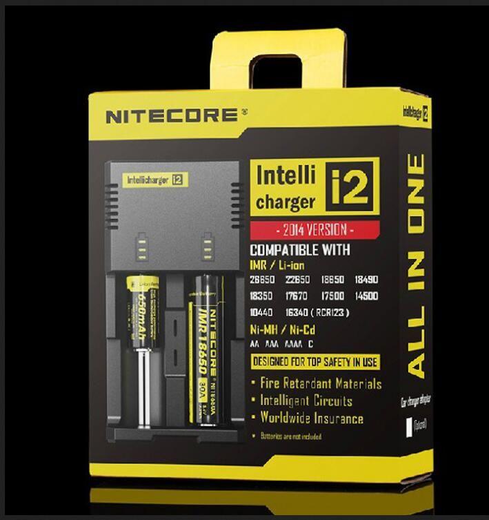 정통 Nitecore I2 범용 지능형 충전기 lg hg2 용 충전기 18650 14500 16340 26650 배터리 다기능 충전기 미국 영국 EU 플러그
