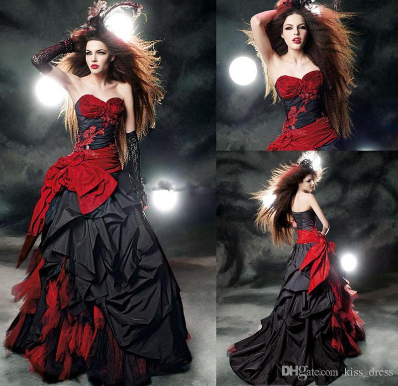 2019 venta caliente nuevo tafetán vestidos de novia negro y rojo tren de la corte del amor de una línea de volantes vestidos de novia sin mangas arco Sash W2002