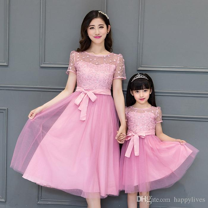 Mother and Daughter Matching Evening Party  Cocktail Dress Family Style Cute