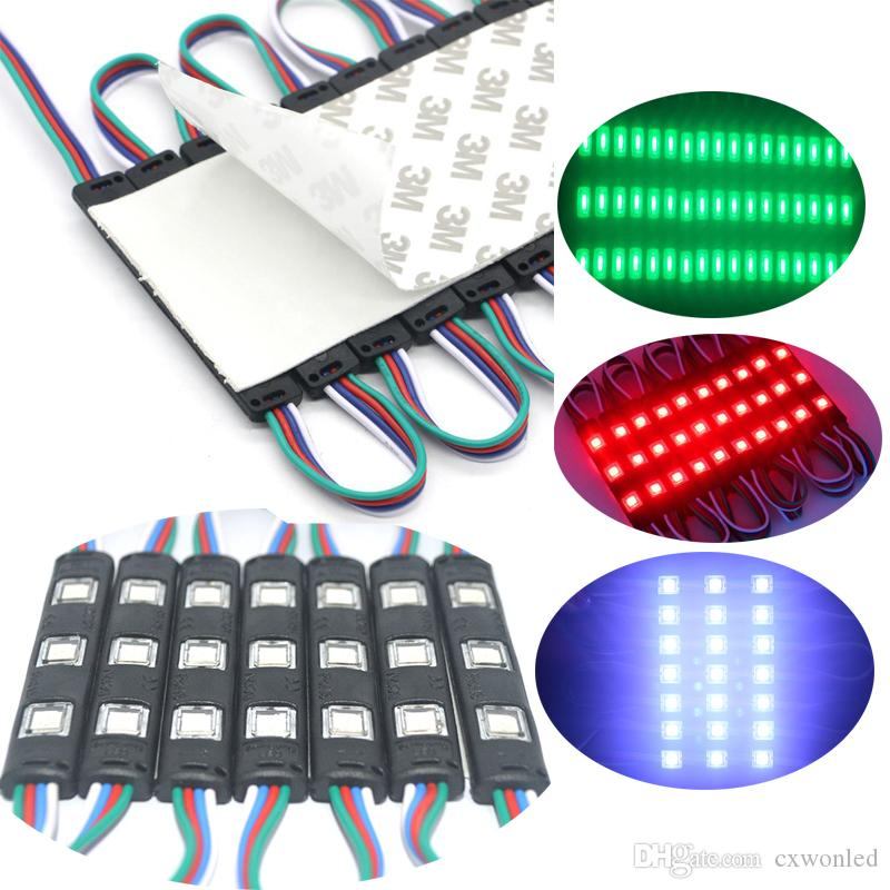 SMD5050 Led Module Light 3LED Black RGB Injection LED Modules with Lens DC12V Waterproof IP65 Module Light