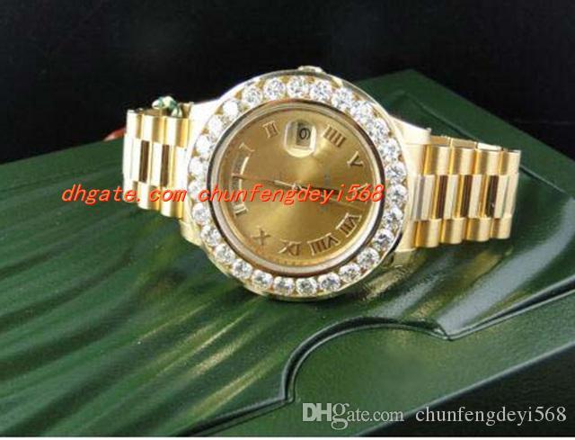 럭셔리 손목 시계 놀라운 남성 2 II 18k 41MM 옐로우 골드 다이아몬드 시계 자동 남성 시계 남자 시계 최고 품질