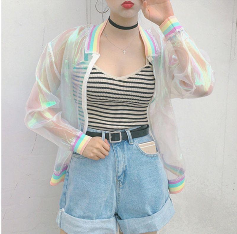 Al por mayor- Harajuku Summer Women Jacket Laser Rainbow Symphony Hologram Women BasicCoat Clear Iridescent Transparent Bomber Jacket Sunproof