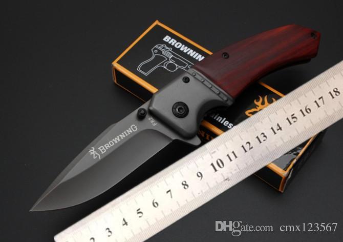 Ücretsiz kargo Browning-F82 hızlı açılış 5 cr15mov katlanır bıçak bıçak işleme çelik şube kolu + ahşap asit Açık kamp survival