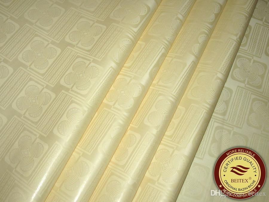 High Quality free shipping Guinea Brocade Bazin Riche 10Yards/Bag Cream Color nice design african Garment Fabric Shadda