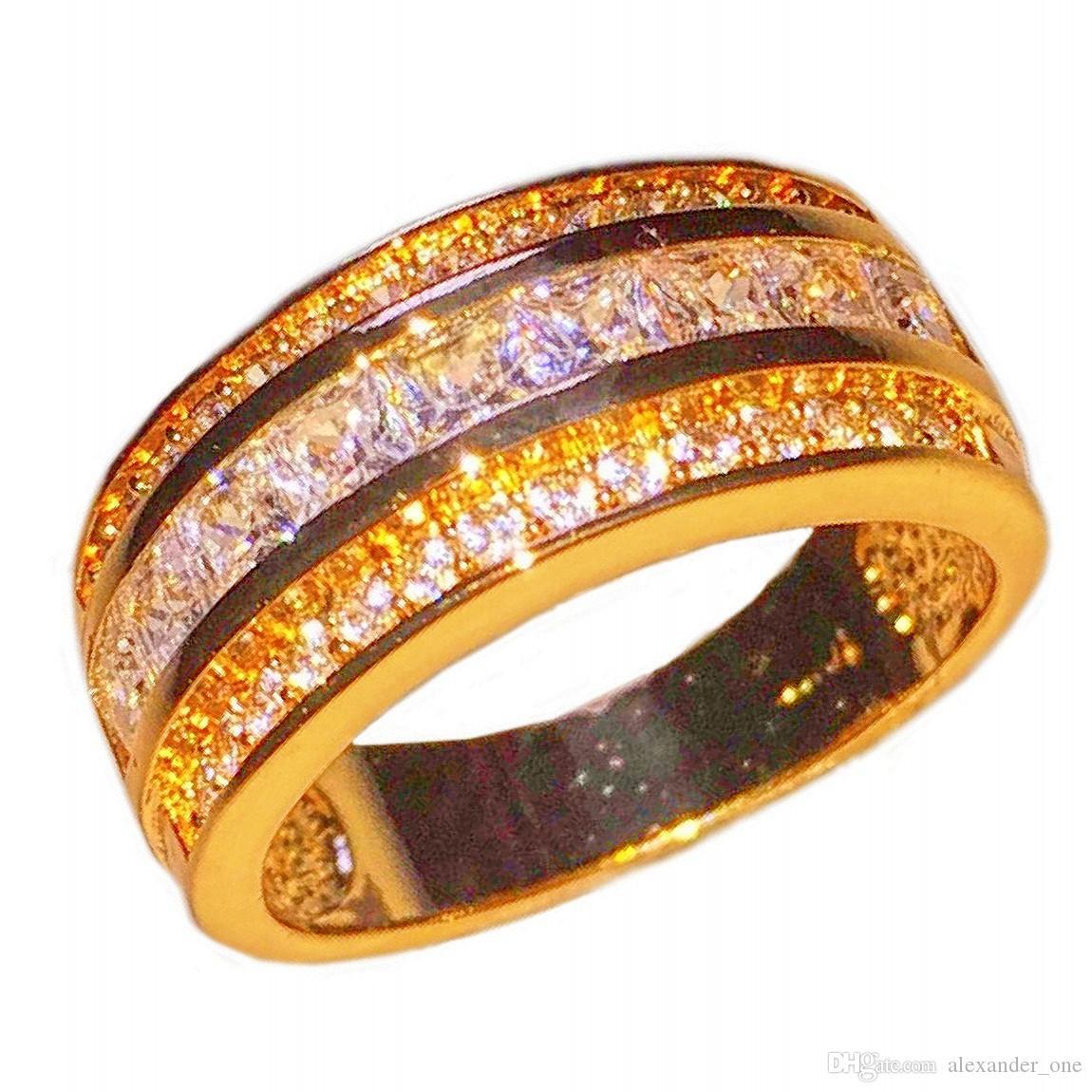 Mode 10KT Gelb Gold gefüllt Princess-Cut Platz Zirkonia Edelstein Ringe Hochzeit Band Schmuck für Männer Frauen