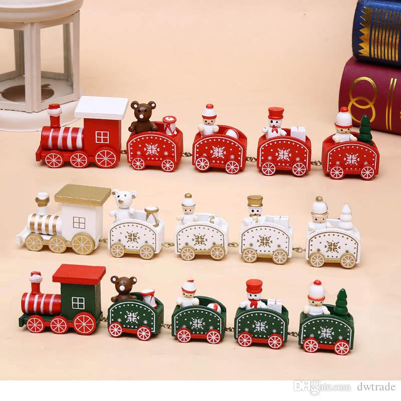 25cm Wood Christmas Train Toy Decoration Decor Gift Onarment Xmas Gift Santa Clause Snowman Toys For Kids Free Shipping
