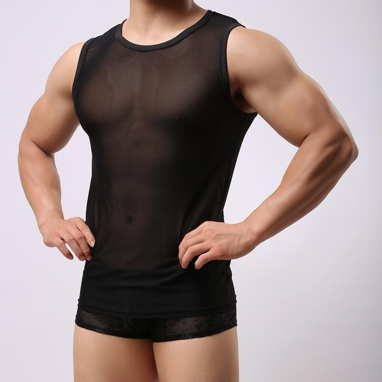 Wholesale- New Sexy Men Tank Tops Sheer See Through Shirts Sleeveless Casual Breathable Tight Tank Tops Mens Muscle Vest Slim Tank Shirts