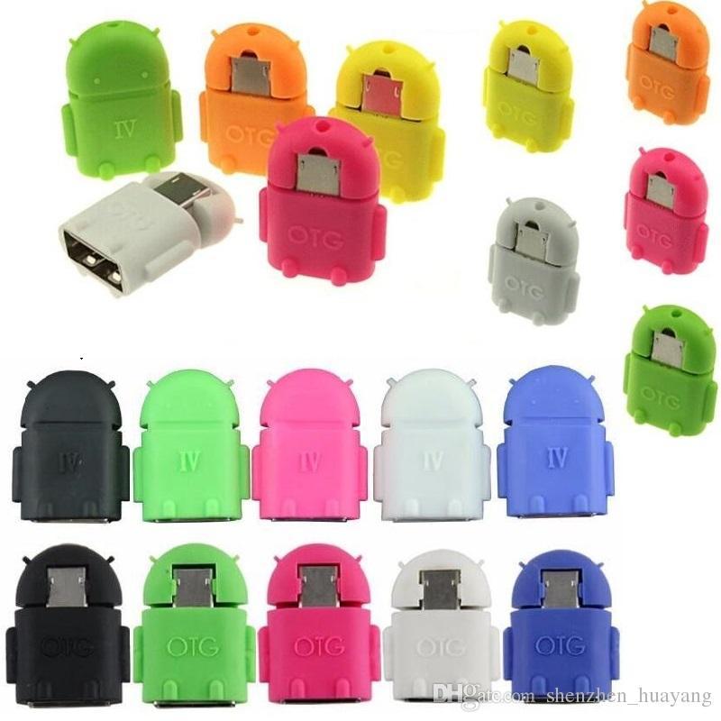 Moda Android Robot TV Kształt Micro USB do USB OTG Adapter do Android Tablet PC Smartphone Phablet z 8 kolorami Darmowa wysyłka (dy)