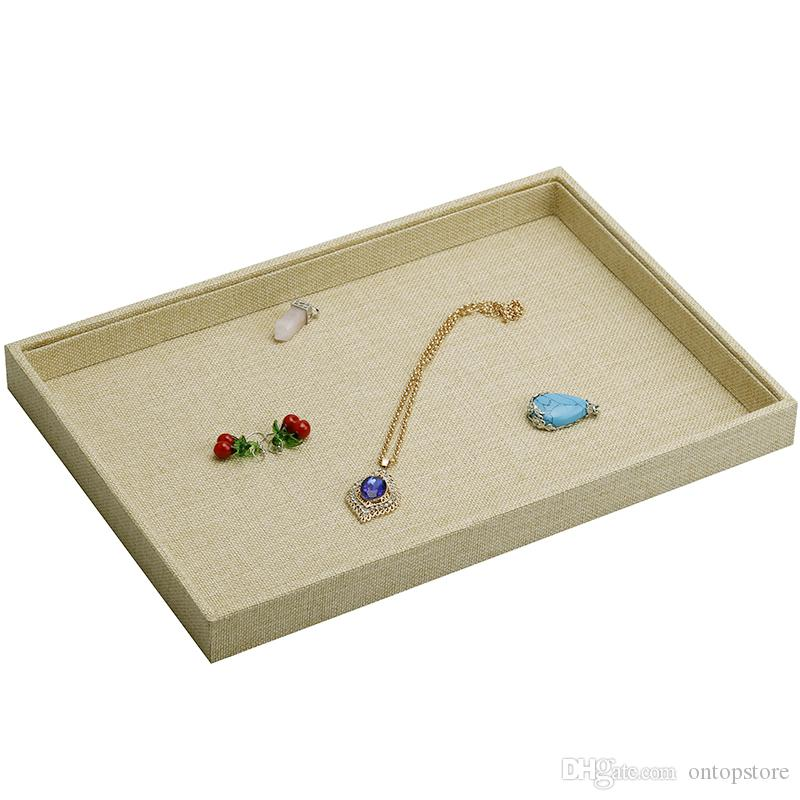 topstore 2017 Styles Linen Jewelry Display Rack Stand Holder Ring Necklace earrings Hand catenary Pendant Show Tray 35*24*3.0CM