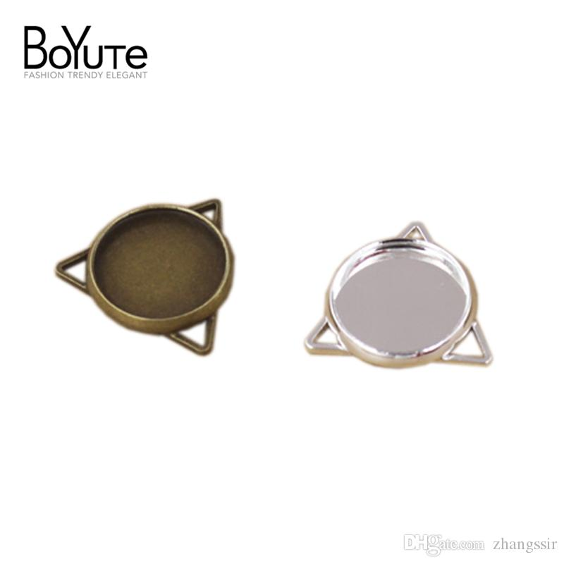 BoYuTe 40Pcs 12mm Round Cabochon Base Wholesale Antique Bronze Silver Plated Pendant Charms Blank Tray Diy Jewelry Accessories