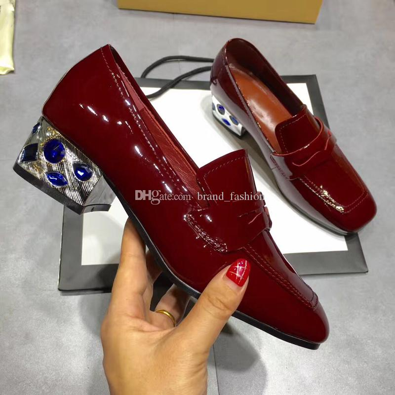 Wine Red Black Womens Dress Shoes Patent leather Chunky heels with Rhinestone Female Moccasins