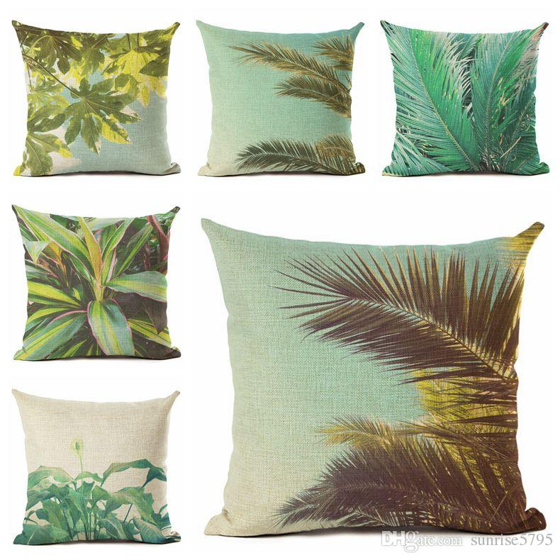 Tremendous Palm Leaf Cushion Cover Nature Plant Couch Chair Throw Pillow Case Foliage Almofadas 45Cm Square Decorative Cojines For Home 24X24 Outdoor Seat Ocoug Best Dining Table And Chair Ideas Images Ocougorg
