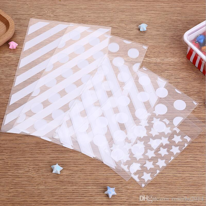 300pcs/lot White Stripe And Dot And Star DIY OPP Makeup Gift Package Plastic Bags Event Party Cookie and Candy Packaging Bags
