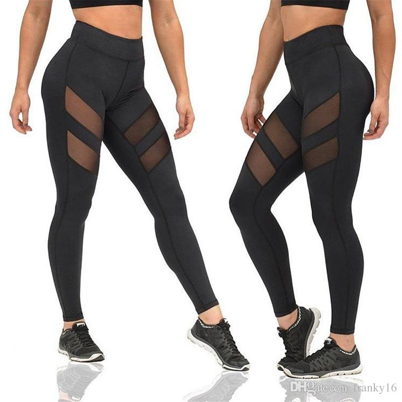 fe31f1dd33dc9 2017 Hot Selling Stylish Fitness Exercise Pants Yoga Pants Women Mesh  Patchwork Black Gray Female Sports Leggings Free Shipping