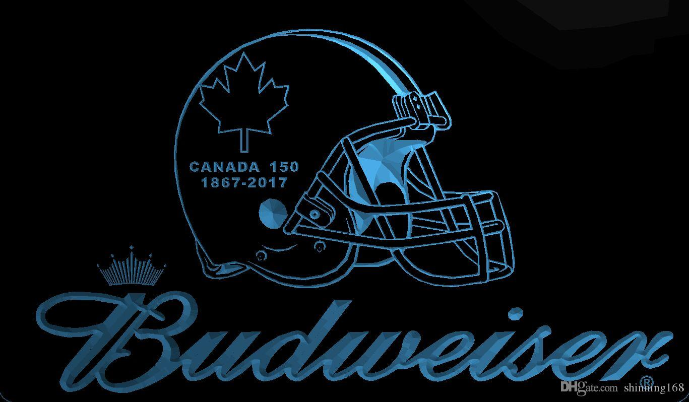 LS1992-b-Canada-150-Jahrestag-Helm-Budweisers-Bar-Neon-LED-Light-Sign.jpg
