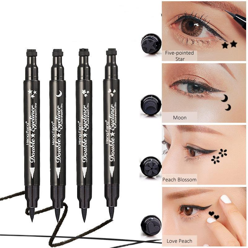 Heng Fang Cute Dual Stamp Eyeliner Pen Fast Dry Smooth Waterproof Anti-smudge Eye Liner Black Eyes Makeup