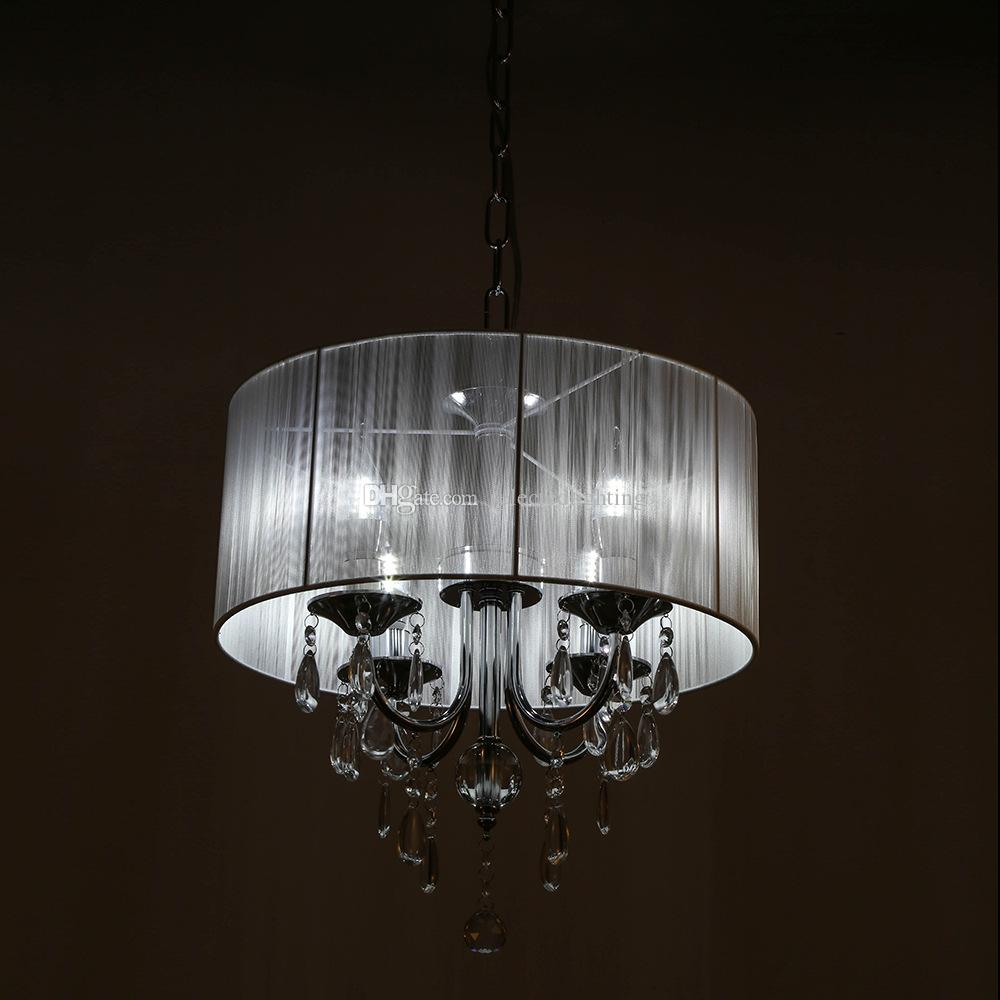 wei trommel schatten kristall decke kronleuchter anhnger licht leuchte beleuchtung lampe 6 lichter d40 - Kronleuchter Licht Mit Trommel