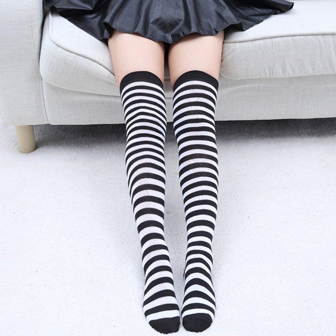 Womens Striped Top Black White Cotton Knee High Socks Over the Knee Thigh High