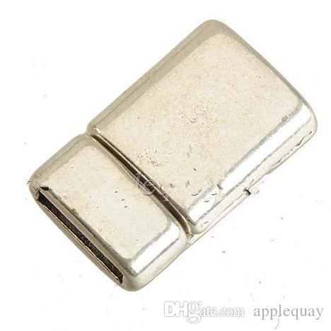 보석 액세서리 자석 clasps 보석 DIY 플랫 와이드 가죽 팔찌 목걸이 걸이 도매 골동품 실버 10mm 구멍 50sets을 토글