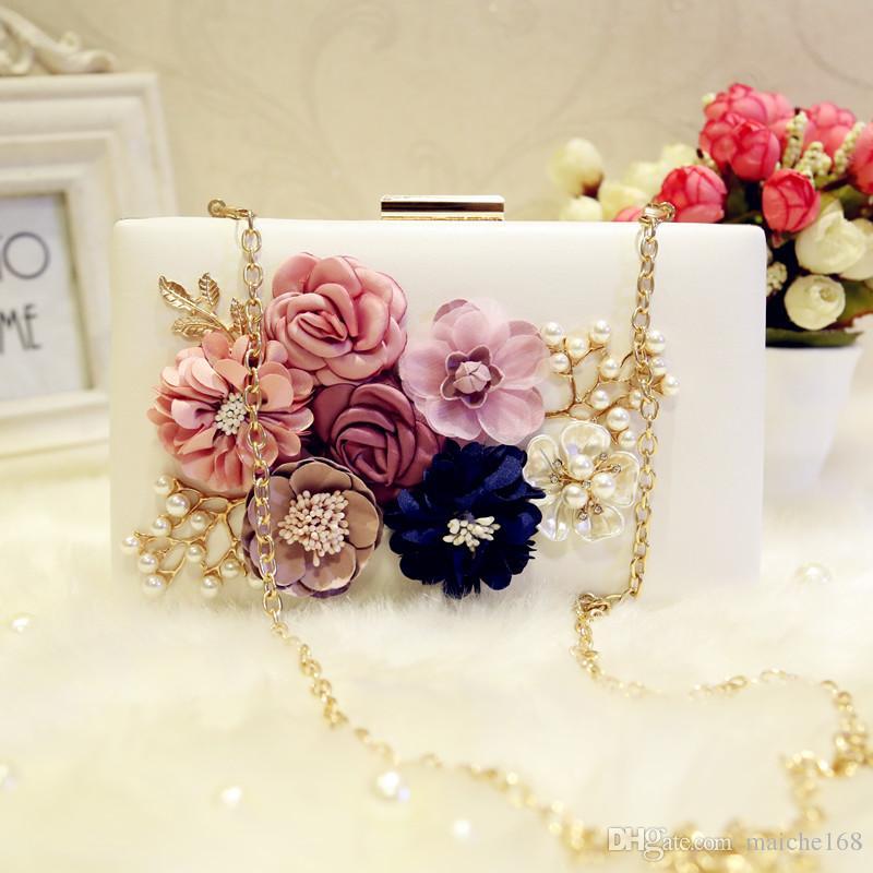 2016 nuevas flores de la perla de las mujeres que sostienen el bolso nupcial de la cadena del bolso del banquete del bolso