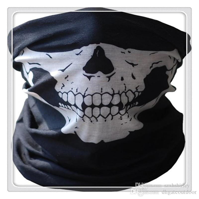 Outdoor Cycling Masks Skull Bandana Multi Function Headwear Motorcycle Helmet Neck Half Face Masks Motorcycle Bike Bicycle Black Tube Mask