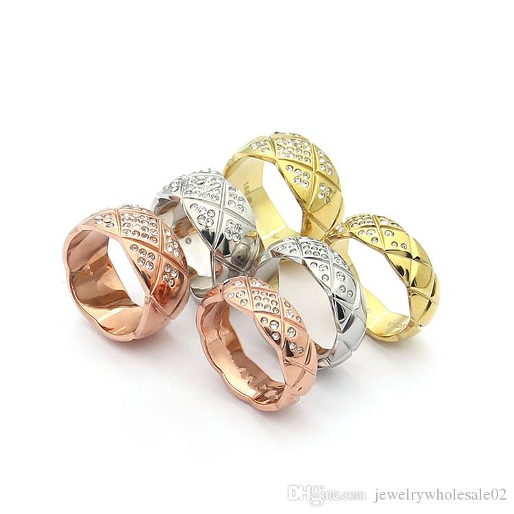 2019 titanium steel accessories wholesale cutting pattern belt drill ring 18K rose gold and diamond ring with a wide and narrow ring