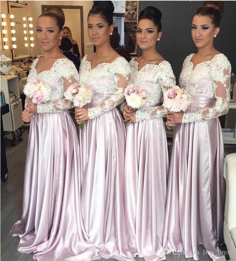 2017 Light Pink Long Sleeves Lace Bodice Cheap Bridesmaid Dresses Sweetheart Appliques Long Elegant Arabic Maid of the Honor Dresses