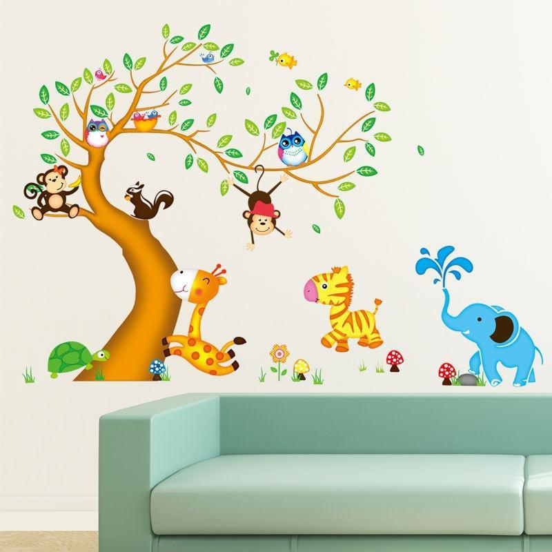 Cartoon Animal Tree Stickers Camera bambini asilo Camera da letto Lovely Sitting Room Ornamento per essere in grado di rimuovere adesivi murali sfondo